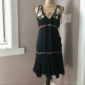 Amuleti black silk Italy ribbon appliqué dress